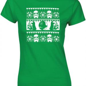 Vader / Stormtrooper Ugly Sweater Shirt, Green, Women's Cut T-Shirt