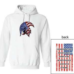 Glen Este Trojan Head/Flag, White, Hoodie