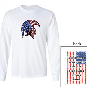 Glen Este Trojan Head/Flag, White, Long Sleeved
