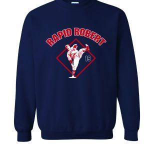Rapid Robert (Bob Feller) - Cleveland Indians, Navy, Crew Sweatshirt