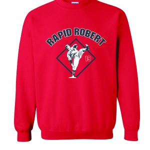 Rapid Robert (Bob Feller) - Cleveland Indians, Red, Crew Sweatshirt