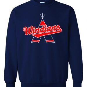 Windians Teepee - Cleveland Indians, Navy, Crew Sweatshirt