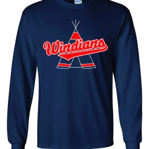 Windians Teepee - Cleveland Indians, Navy, Long-Sleeved