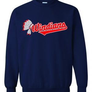 Windians Headdress - Cleveland Indians, Navy, Crew Sweatshirt