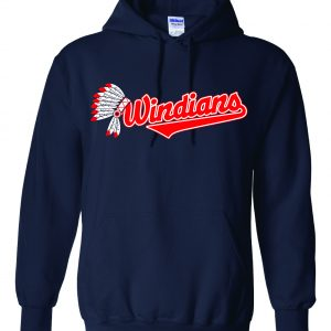 Windians Headdress - Cleveland Indians, Navy, Hoodie