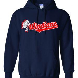 Windians Headdress - Cleveland Indians, Navy, Hoodie
