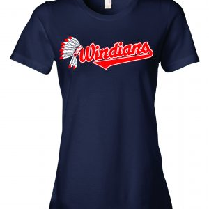 Windians Headdress - Cleveland Indians, Navy, Women's Cut T-Shirt