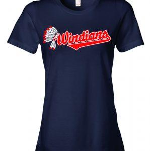 Windians Headdress - Cleveland Indians, Navy, Women's Cut T-Shirt
