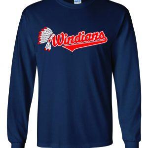 Windians Headdress - Cleveland Indians, Navy, Long-Sleeved