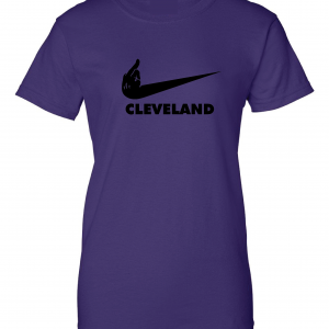Middle Finger Baltimore to Cleveland, Purple, Women's Cut T-Shirt