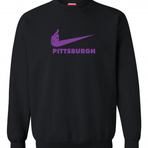 Middle Finger Baltimore to Pittsburgh, Black, Crew Sweatshirt