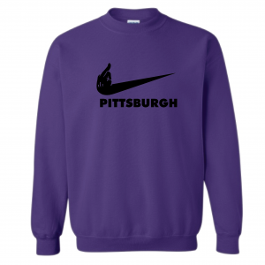 Middle Finger Baltimore to Pittsburgh, Purple, Crew Sweatshirt