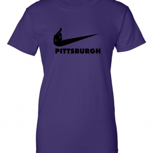 Middle Finger Baltimore to Pittsburgh, Purple, Women's Cut T-Shirt