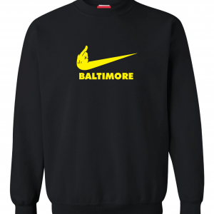 Pittsburgh Middle Finger to Baltimore, Black, Crew Sweatshirt