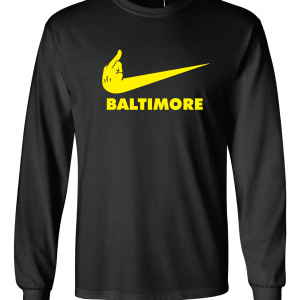 Pittsburgh Middle Finger to Baltimore, Black, Long-Sleeved