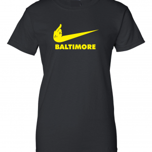 Pittsburgh Middle Finger to Baltimore, Black, Women's Cut T-Shirt