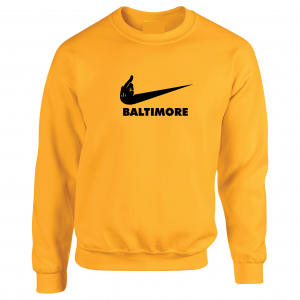 Pittsburgh Middle Finger to Baltimore, Gold, Crew Sweatshirt