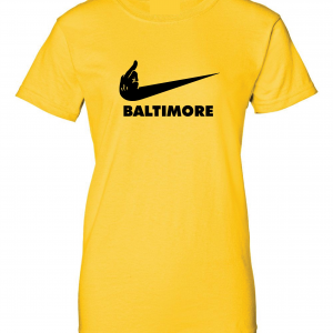 Pittsburgh Middle Finger to Baltimore, Gold, Women's Cut T-Shirt