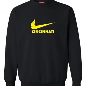 Pittsburgh Middle Finger to Cincinnati, Black, Crew Sweatshirt
