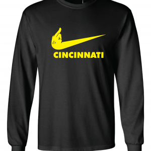 Pittsburgh Middle Finger to Cincinnati, Black, Long-Sleeved