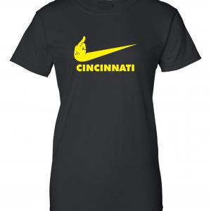Pittsburgh Middle Finger to Cincinnati, Black, Women's Cut T-Shirt