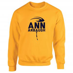 Ann Arbaugh- Jim Harbaugh - Michigan, Gold, Crew Sweatshirt