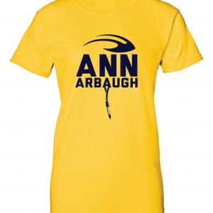Ann Arbaugh- Jim Harbaugh - Michigan, Gold, Women's Cut T-Shirt