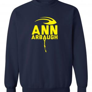 Ann Arbaugh- Jim Harbaugh - Michigan, Navy, Crew Sweatshirt