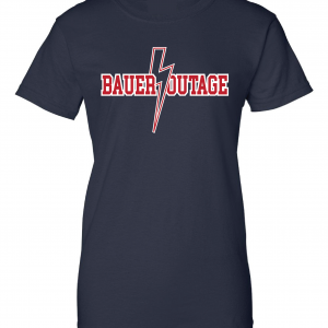 Bauer Outage - Cleveland Indians, Navy, Women's Cut T-Shirt