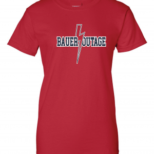 Bauer Outage - Cleveland Indians, Red, Women's Cut T-Shirt
