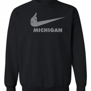 F Michigan, Black, Crew Sweatshirt