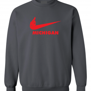 F Michigan, Charcoal/Red, Crew Sweatshirt