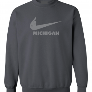 F Michigan, Charcoal/Silver, Crew Sweatshirt