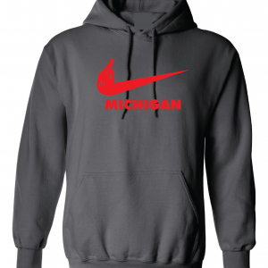 F Michigan, Charcoal/Red, Hoodie