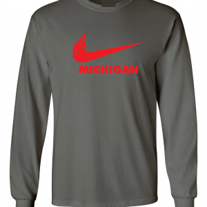 F Michigan, Charcoal/Red, Long-Sleeved