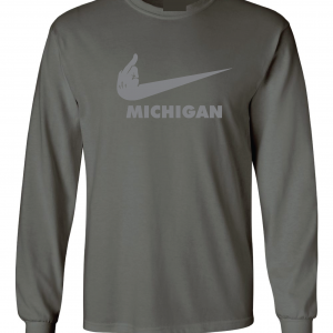 F Michigan, Charcoal/Silver, Long-Sleeved