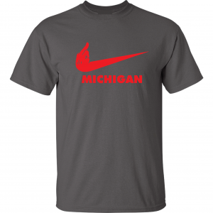 F Michigan, Charcoal/Red, T-Shirt