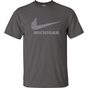 F Michigan, Charcoal/Silver, T-Shirt