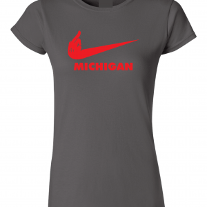 F Michigan, Charcoal/Red, Women's Cut T-Shirt