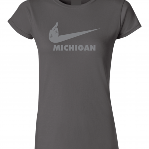 F Michigan, Charcoal/Silver, Women's Cut T-Shirt