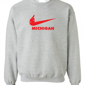 F Michigan, Grey, Crew Sweatshirt