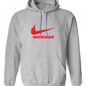 F Michigan, Grey, Hoodie