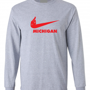 F Michigan, Grey, Long-Sleeved