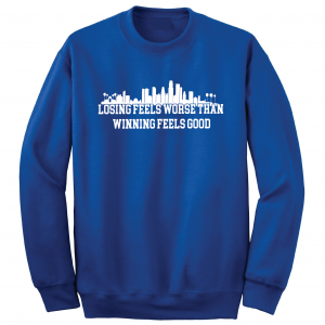 Losing Feels Worse Than Winning Feels Good - Dodgers - Vin Scully, Royal Blue, Crew Sweatshirt