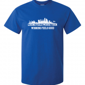 Losing Feels Worse Than Winning Feels Good - Dodgers - Vin Scully, Royal Blue, T-Shirt