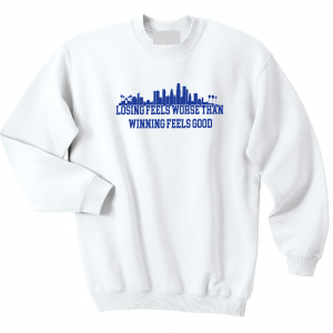 Losing Feels Worse Than Winning Feels Good - Dodgers - Vin Scully, White, Crew Sweatshirt
