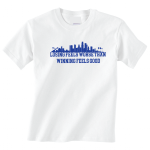 Losing Feels Worse Than Winning Feels Good - Dodgers - Vin Scully, White, T-Shirt