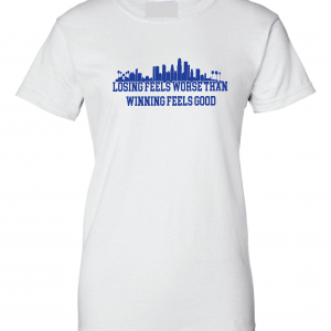 Losing Feels Worse Than Winning Feels Good - Dodgers - Vin Scully, White, Women's Cut T-Shirt