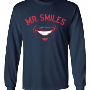 Mr. Smiles - Francisco Lindor - Cleveland Indians, Navy, Long-Sleeved
