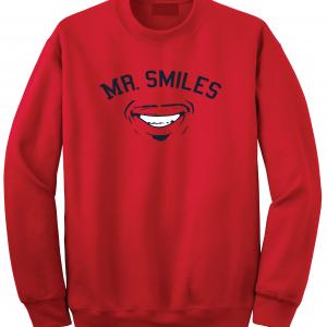 Mr. Smiles - Francisco Lindor - Cleveland Indians, Red, Crew Sweatshirt